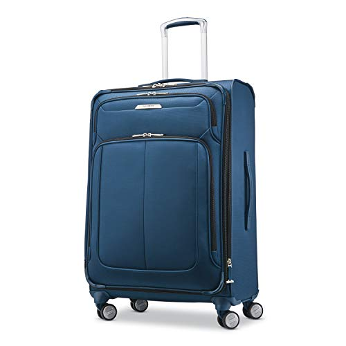 Samsonite Solyte DLX Softside Expandable Luggage with Spinner Wheels, Mediterranean Blue, Checked-Medium 25-Inch