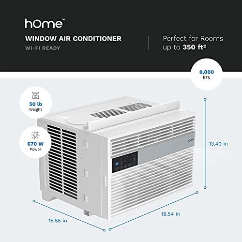 hOmelabs 8,000 BTU Window Air Conditioner with Smart Control – Low Noise AC Unit with Eco Mode, LED Control Panel, Remote Control, and 24 hr Timer