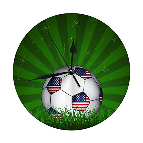FETEAM Reloj de Pared Redondo Decorativo Moderno Balón de fútbol Americano con Pilas 9.8IN
