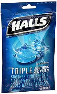 Halls Mentho-Lyptus Drops Ice Peppermint- 30 ct, Pack of 6