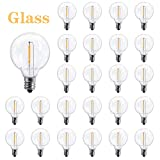 25-Pack Clear LED G40 Replacement Bulbs, E12 Screw Base LED Globe Light Bulbs for Patio String Lights, Glass Led Bulbs Suitable for Rainy, Humid Environment-Equivalent to 5-Watt Light Bulbs