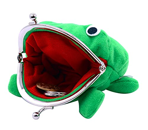 Kcikn Cute Green Plush Frog Coin Purse, Frog Coin Wallets,Frog Money Pouch with Lock for Headset Key Credit Card Holder Novelty Toy Gift