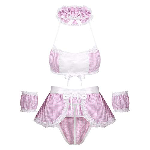 JUGUU Sexy Pajamassexy Costumes Bra with G-String Role Play Lingerie Set-Pink B