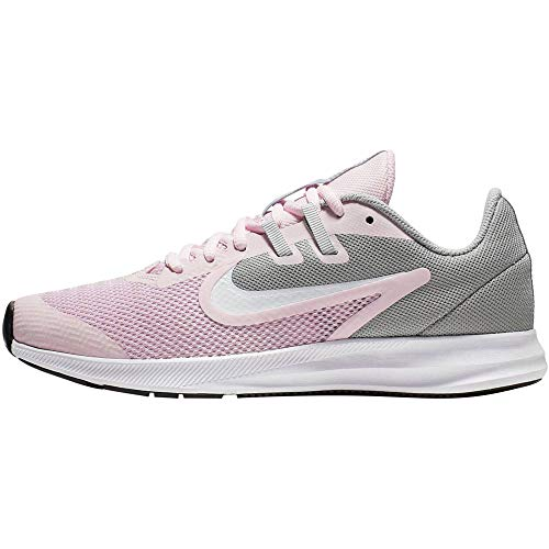 Nike Unisex-Kinder Downshifter 9 (Gs) Traillaufschuhe, Mehrfarbig (Pink Foam/White/Metallic Silver 601), 37.5 EU