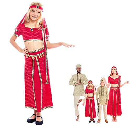 Disfraz Hindú Niña Sari Rojo India Bollywood【Tallas Infantiles 3 a 12 años】[Talla 7-9 años] Disfraz Carnaval Niña Nacionalidades India Árabe Fiesta Actuaciones Desfiles Festivales
