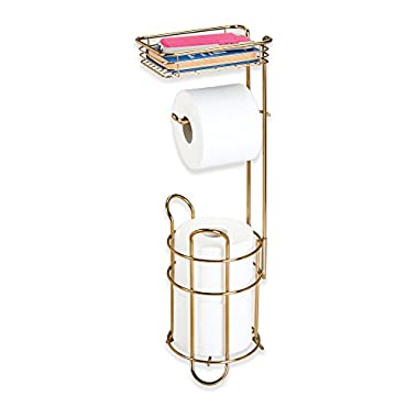 mDesign Freestanding Metal Wire Toilet Paper Roll Dispenser Holder and Extra Roll Reserve with Storage Shelf for Cell, Mobile Phone - Bathroom Storage Organization - Holds 3 Rolls - Soft Brass