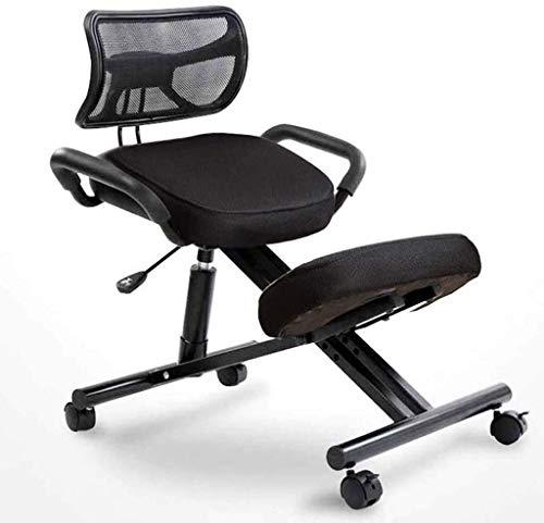 AYHa Sillas De Rodillas Ortopédica asiento ergonómico silla de la oficina Silla de escritorio correcta postura al sentarse a prueba de polvo suave,Negro