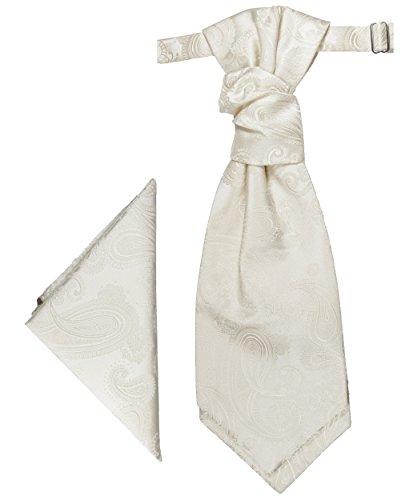 Paul Malone Hochzeitskrawatten Set elfenbein Ivory 2tlg Plastron mit Einstecktuch - Hochzeit Krawatte