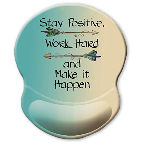ITNRSIIET Ergonomic Mouse Pad with Gel Wrist Rest Support, Stay Positive Work Hard and Make It Happen Arrow Print Inspirational Quote Mouse Pad, Non-Slip PU Base for Computer, Laptop, Home, Office