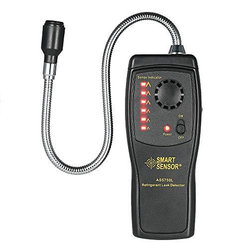 Detector de gas natural, CFC HCFC HFC Detector de gas halógeno Refrigerante Aire acondicionado Analizador de gas freón Probador Medidor con luz de sonido Alarma ajustable