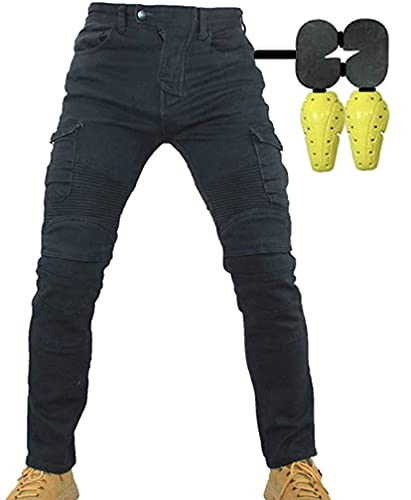 CBBI-WCCI Uomo Moto Biker Jeans Rinforzato Protezione Pantaloni Linning Includono Armature Motorcycle Pants 02 (Nero, 34W / 32L)
