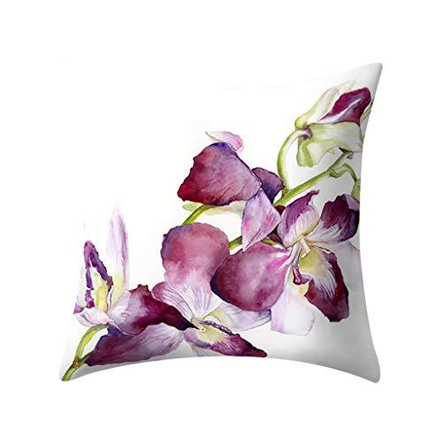 XuanhaFU Patrón de Flores Fundas cojín Lona de Almohadas Moda para el sofá Juego de 1 45x45cm Serie (C)