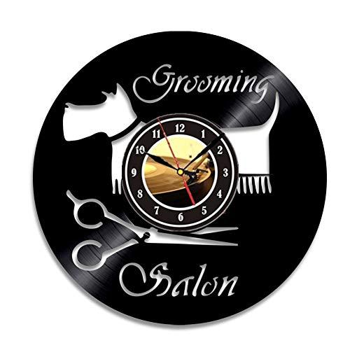 Main vinyle record horloge murale-salon de coiffure coiffeur salons salon de beauté horloges,Black,12inch