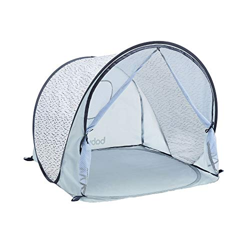 Babymoov Tente Anti-UV avec Moustiquaire, Grande Tente de Plage Haute Protection Solaire 50+, Système Pop-Up, Blue Waves