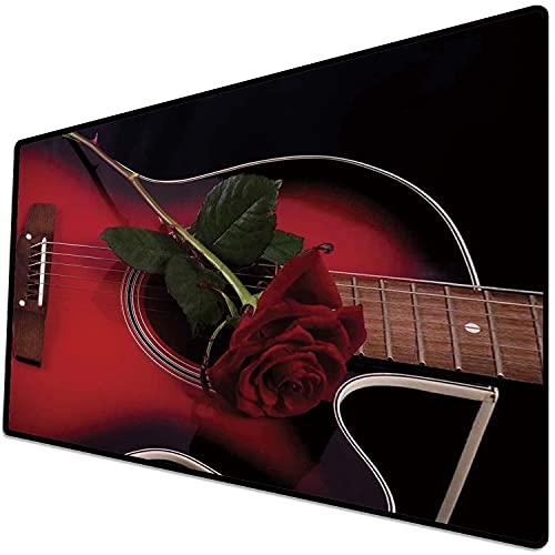 Alfombrilla de ratón (600x300x3 mm) Rojo y Negro, Músico español Portugal Guitarra Hecha a Mano con Tema romántico Amor Rosa, Rubí y Superficie Suave y cómoda de la Alfombrilla de ratón para Juegos