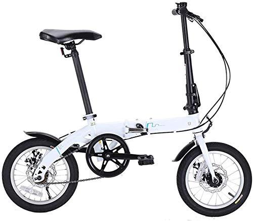 Bicicleta plegable ligera con marco alto de acero al carbono de 14 pulgadas, bicicleta plegable para adultos, trabajadores de oficina, entorno urbano y desplazamientos para trabajar
