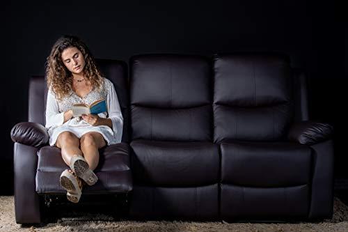ECODE Sofa Tres Plazas con Masaje Vibrante Programable, Calor Lumbar, Polipiel , Reclinable ECO-8200/3 Negro