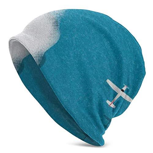 FairyLi Blue Sky met Vliegtuig Beanie Mannen Vrouwen - Privacy Winter Zomer Warm Geboeid Effen Schedel Dagelijks Gebreide Hoed Cap