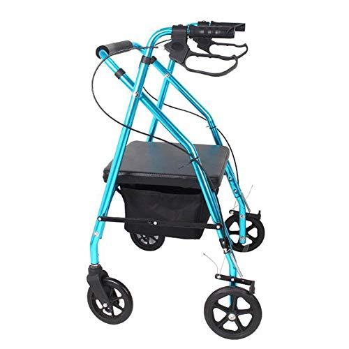 Rollator aus Aluminium Sitz und Korb Leichtgewicht 4kg PU Reifen pannensicher leise Kofferraum klappbar höhenverstellbar