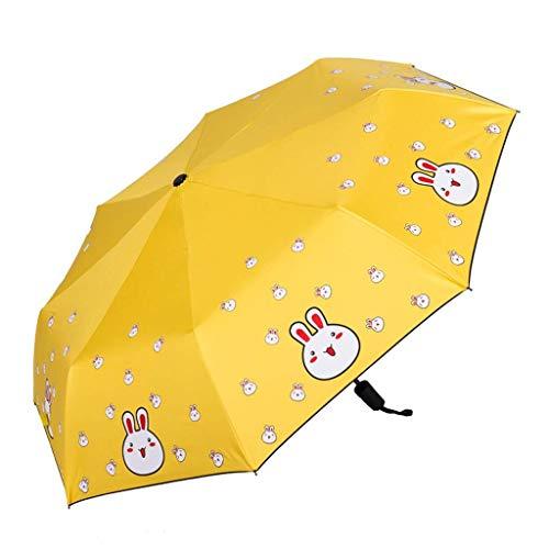 Paraguas de impresión de Dibujos Animados Paraguas UV Paraguas Parasol Plegable Lluvia Dual Uso Paraguas Sol Paraguas,Portátil (Color : Yellow)