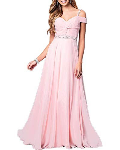 Aofur New Lace Long Chiffon Formal Evening Bridesmaid Dresses Maxi Party Ball Prom Gown Dress Plus Size (XX-Large, Light Pink) (Apparel)