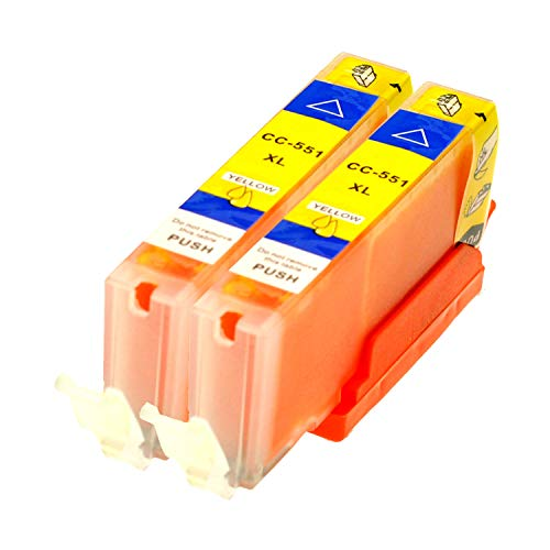 2 Logic-Seek® Druckerpatronen CLI551Y MIT CHIP und Füllstandanzeige für Canon Pixma iP7250, MG5450, MG6350, MX725, MX925, kompatibel mit CLI-551Y