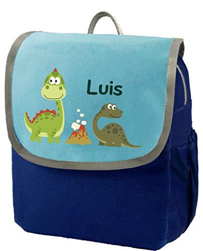 Mein Zwergenland | Kindergartenrucksack | Happy Knirps Next | Personalisierter Rucksack mit Namen | Kindergartenrucksack für Jungen & Mädchen | Rucksack Kinder 6 Liter | Blau | Dinos im Park
