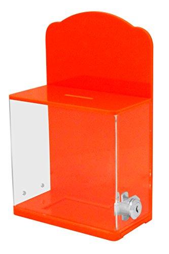 My Charity-Boxen–Hohe Qualität Spende Box mit Rückwand gebogen Display Bereich Gesperrt–Für Fundraising Spende Box–Ticket Box–Box ~ Neon Orange