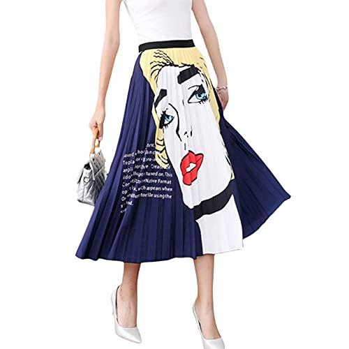 Falda plisada de verano para mujer, estilo informal, cintura elástica, diseño de dibujos animados, línea A, falda larga, Multi-color A, Talla única