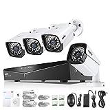 SANNCE 4 Canali Kit sorveglianza Sistema di sicurezza 1080P Kit Telecamera Videosorveglianza 4 Canali IP66 Sistema NVR Visione Notturna per Sicurezza della Famiglia Senza HDD