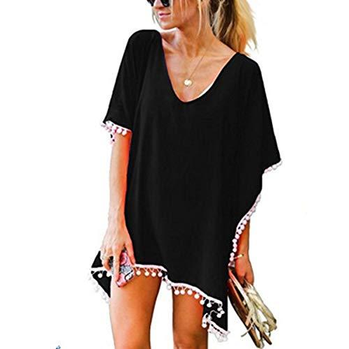 ECOMBOS Damen Strandkleid - Bikini Cover Up Strandponcho Chiffon Sommerkleid Sommer Bademode Blumenkleid Boho Kleid Tunika Strand Pareo mit Quasten (schwarz-b)