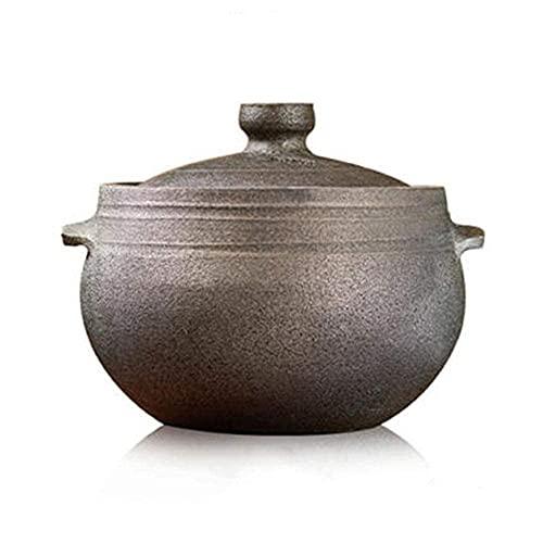 Yxxc Cazuela de Barro para cocinar Olla de Barro Horno holandés-Almacenamiento de Calor y Ahorro de energía Saludable y duradero-5L Happy Life