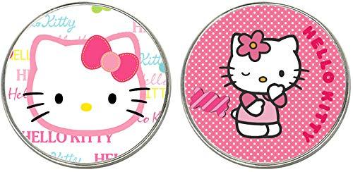 Hello Kitty 2 Magneti Frigo Circolari in Metallo 5,4 cm Metal Fridge Magnets