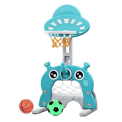 Basketball Hoop Canasta Baloncesto Infantil, 3 en 1 Altura Ajustable Canastas de Baloncesto para Casa, Juegos Exterior con Fútbol, Lanzamiento de Anillos (Color : Blue)