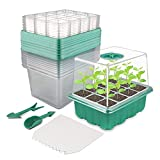 10 Pack 120-cell Seed Starter Tray Kit, NEWKITS Plant Germination Starter Kit Seed Starter kit with Humidity Dome and Base for Greenhouse Grow Wheatgrass Hydroponic(12 Cells per Tray)
