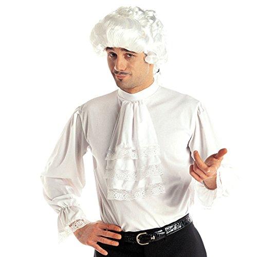 Amakando Mittelalter Hemd Weißes Rüschenhemd M/L 50/52 Mittelalterliche Kleidung Herren Barock Herrenhemd mit Rüschen Edelmann Kostüm Renaissance Vampir Gewandung