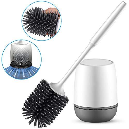 Senders Toiletborstel en houder, silicone toiletborstelset 2-in-1 wandmontage & staan lange steel toiletborstel en sneldrogende houderset voor badkamer