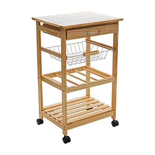 Organize It All Mobile Kitchen Utility Cart with Wire Drawers (Natural Pinewood)