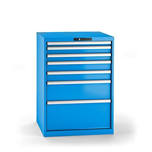 LISTA Schubladenschrank, Traglast/Schubl. 75 kg, 7 Schubl.: 50,2x75,2x100, 1x200, 1x300 mm, Zylinderschlos s, BxTxH 717x725x1000 mm, RAL 5012 lichtblau