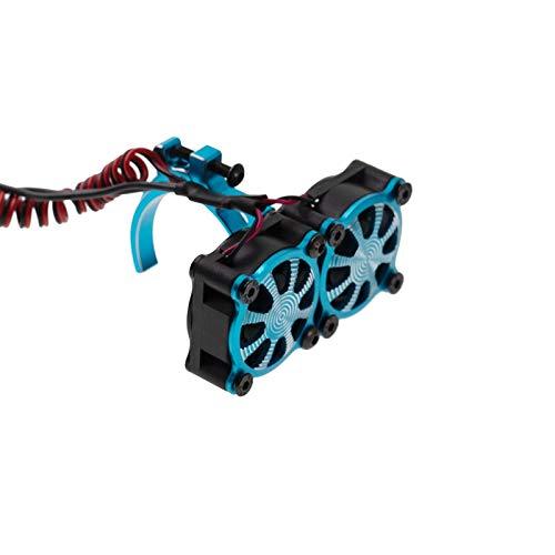 Exanko Ventilador de Enfriamiento del Disipador de Calor del Motor con Sensor TéRmico para Motores 540550 3650 3660 1/10 RC Coche Axial SCX10 TRX4, Azul
