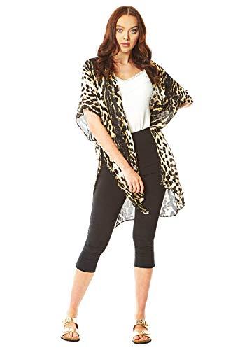 Roman Originals - Chaqueta Tipo Kimono para Mujer, diseño de Tigre Marrón marrón S/M