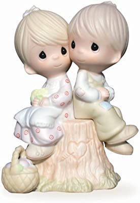 Precious Moments, Love One Another, Bisque Porcelain Figurine, E1376,Pastels Pink, Yellow, Green
