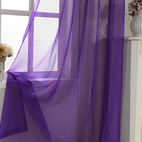 PENVEAT Solid Color Curtains Black Window Modern Living Room Balcony Kitchen Curtains Tulle Purple Sheer Fabrics Red Cortinas T&184#20,Tulle 02,W200CM X H265CM,Hook