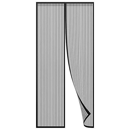 Schwarz Magnet Fliegengitter Tür, Magnetvorhang ist Ideal für die Balkontür, Kellertür und Terrassentür,...