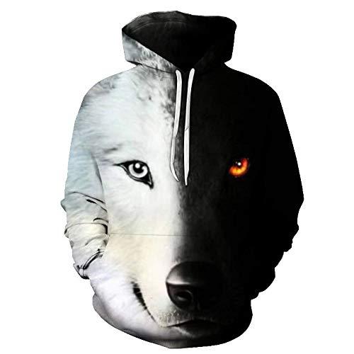 comechen Herren Kapuzenpullover Lebensecht 3D Grafik Hoodie mit Kängurutasche Pullover mit Kapuze Sweat HoodPullover Lone Wolf Mit Kapuze Lässig Y-5091 L