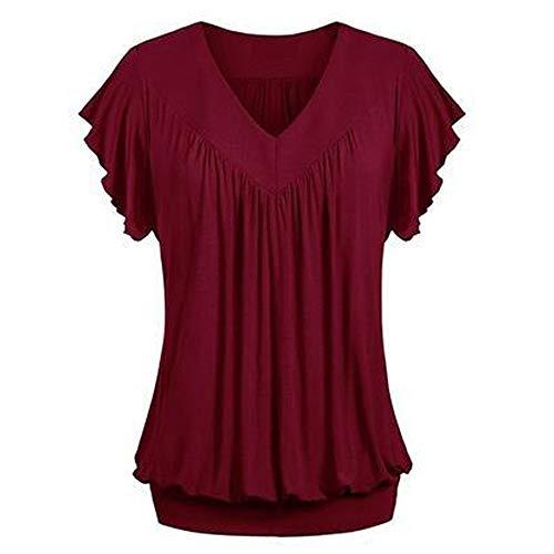 MRULIC Damen Pure Casual T-Shirt Top Tiefem V-Ausschnitt Bluse Plus Größe(Z-Weinrot,EU-50/CN-4XL)