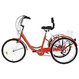 Fewear Adult Tricycle with Backrest 1/7 Speed Three Wheel Cruiser Bike 24 inch Wheels, Cargo Basket...