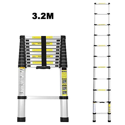 Escalera telescópica de aluminio de 3,2 m escalera plegable multifunción fácil de transportar capacidad máxima de carga 150 kg