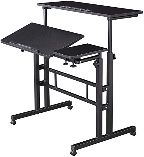 Height Adjustable Rolling Desk Mobile Stand Up Desk with Wheels Home Office Computer Workstation Desk Table Laptop Cart for Standing or Sitting