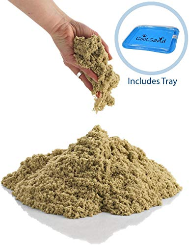 CoolSand Natural 5 Pound Refill Pack - Including: 5 Pounds Moldable Indoor Play Sand, Storage Bucket & Inflatable Sandbox